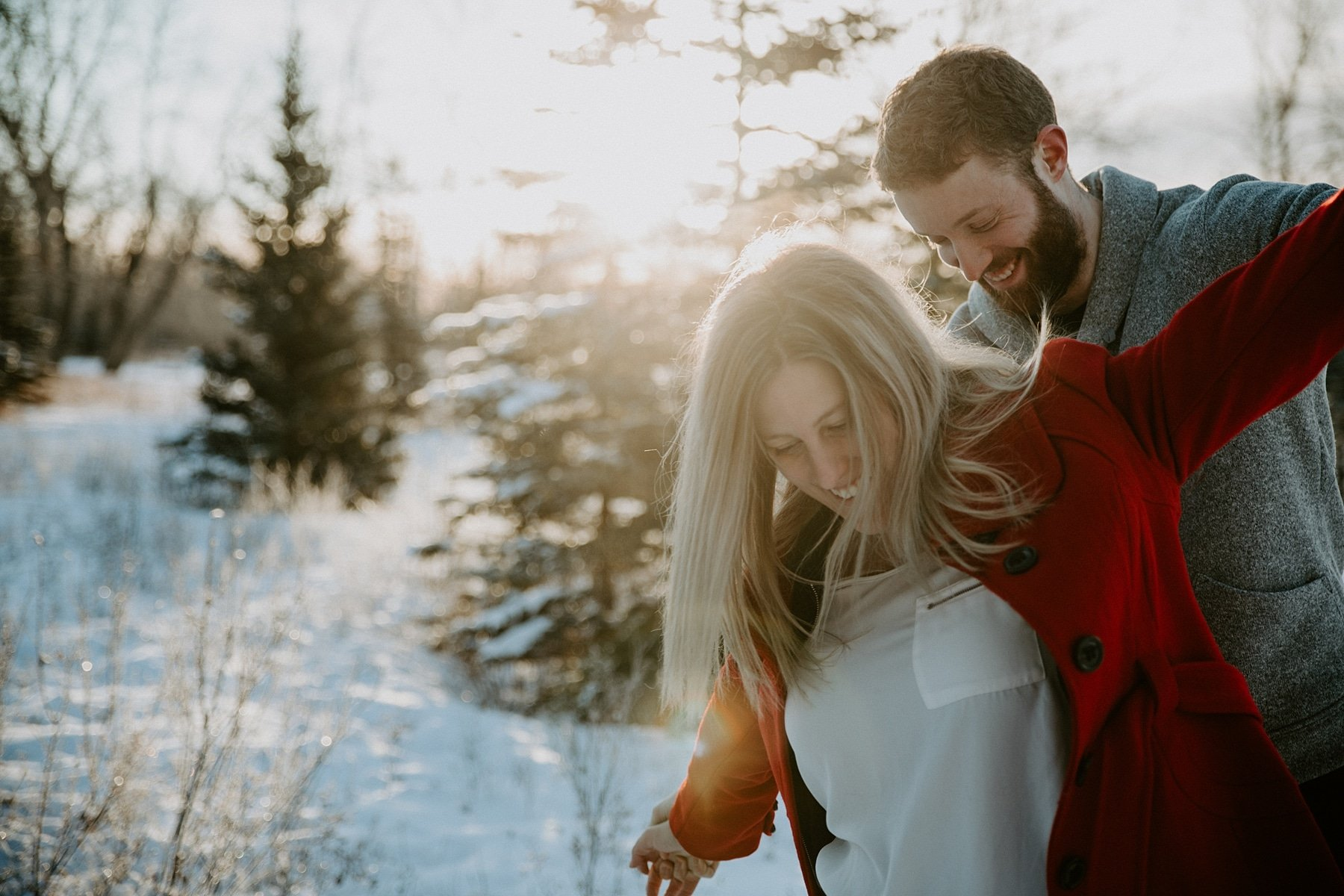 Winter Fish Creek Park Engagement Session in Calgary by Teller of Tales Photography