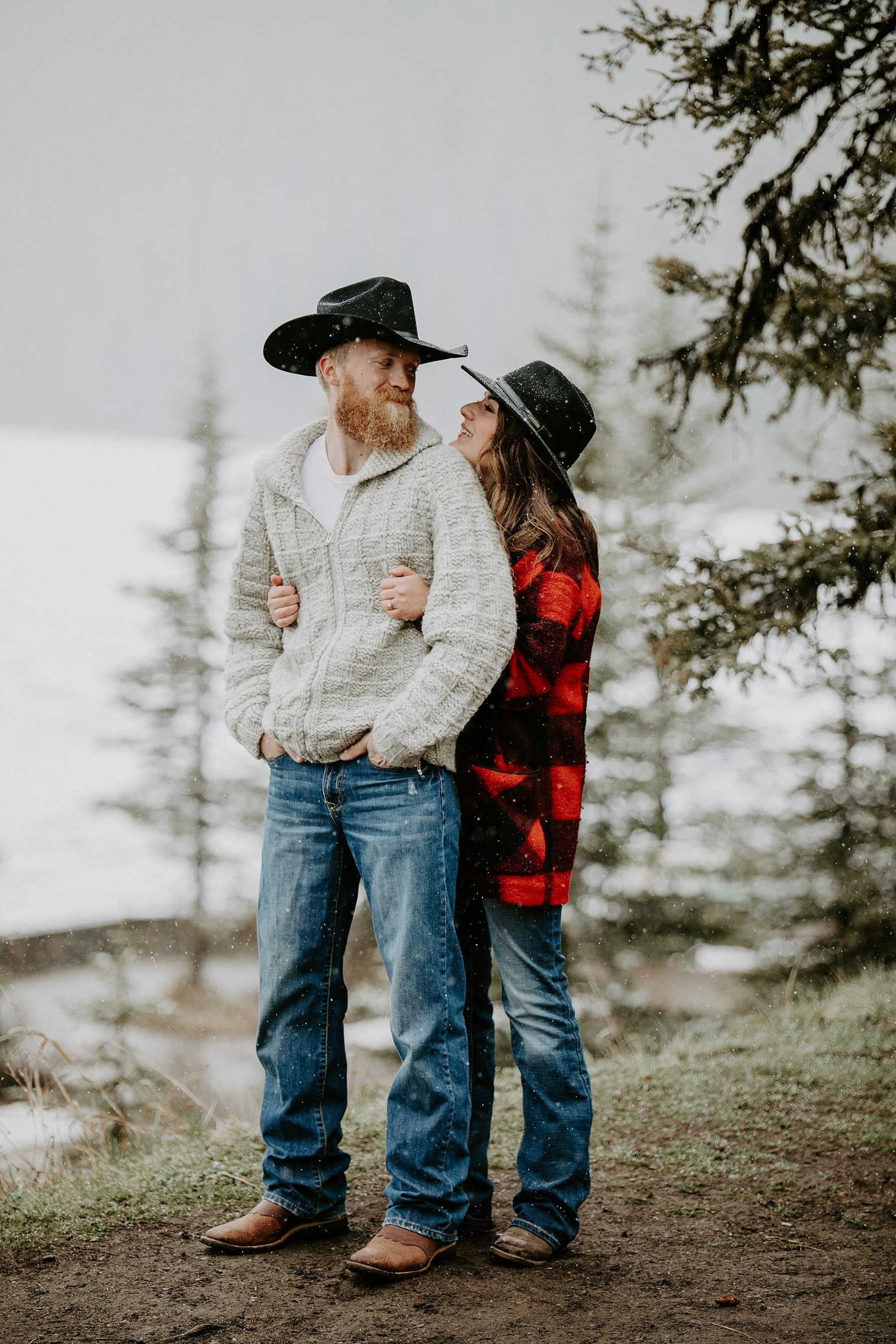 Snowy Engagement in the mountains