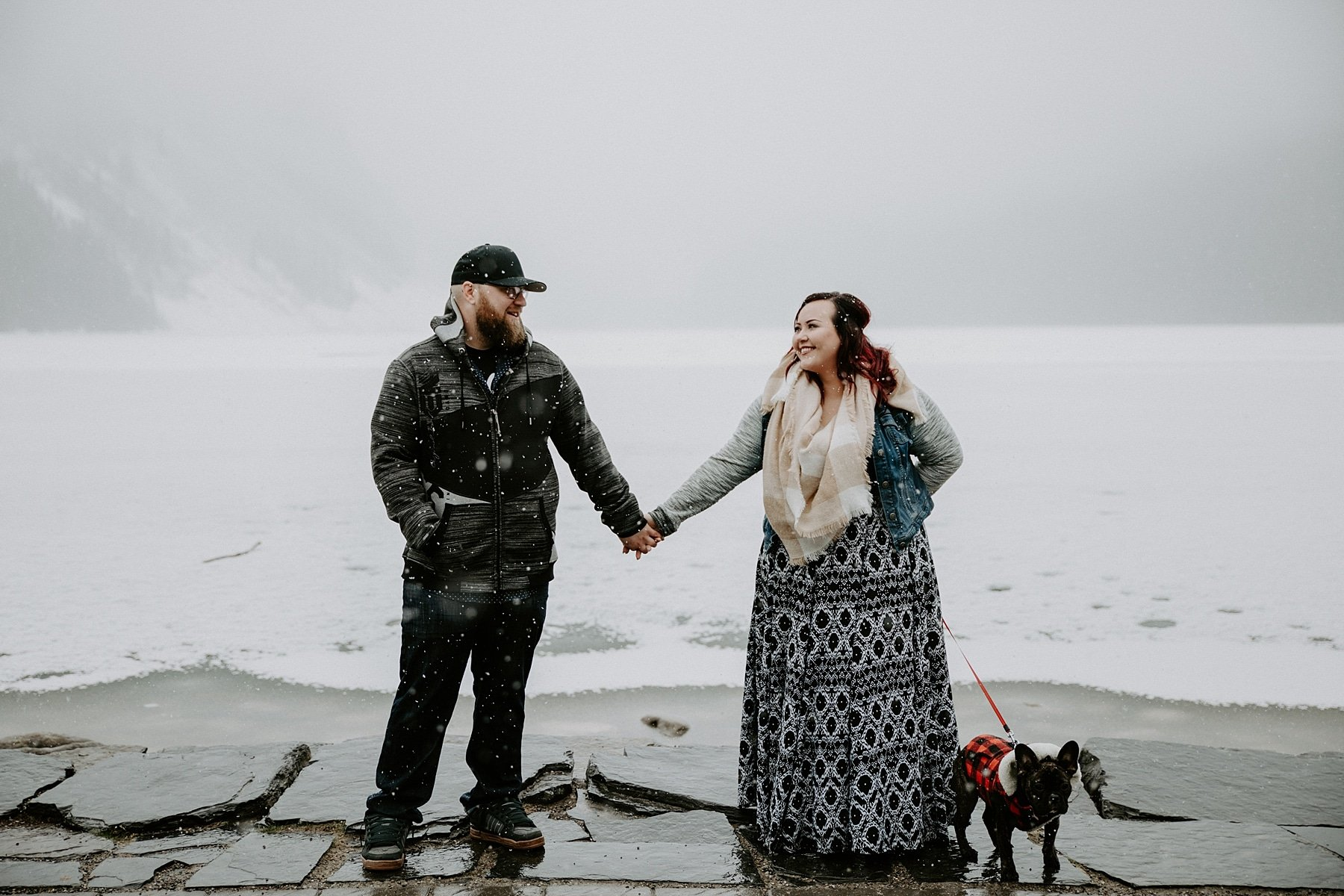 Canadian Rocky Mountain Engagement at Lake Louise in the Snow