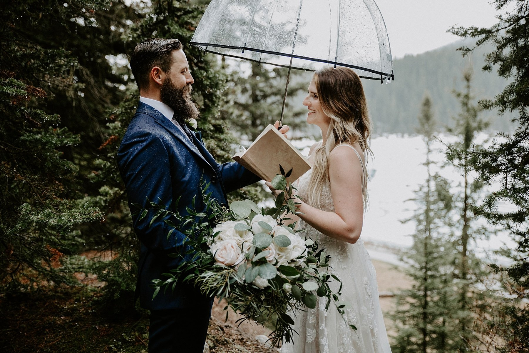 Lake Louise Elopement vow exchange