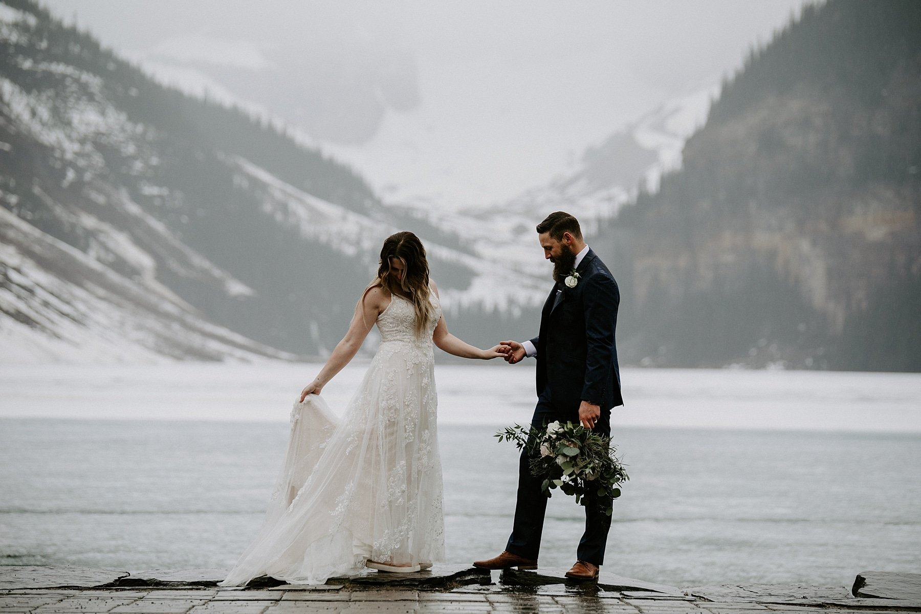 Snowy elopement in Lake Louise