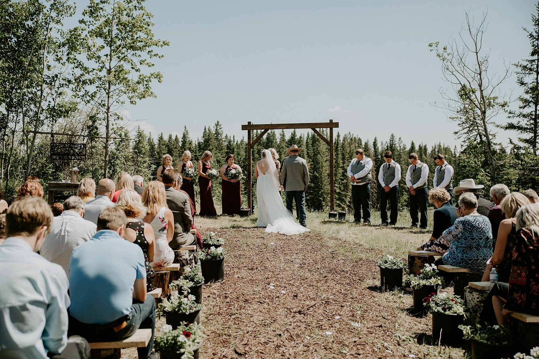 Country wedding ceremony in Olds Alberta