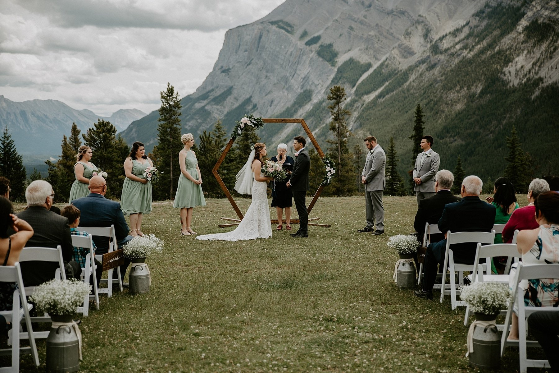 tunnel mountain wedding ceremony in Banff