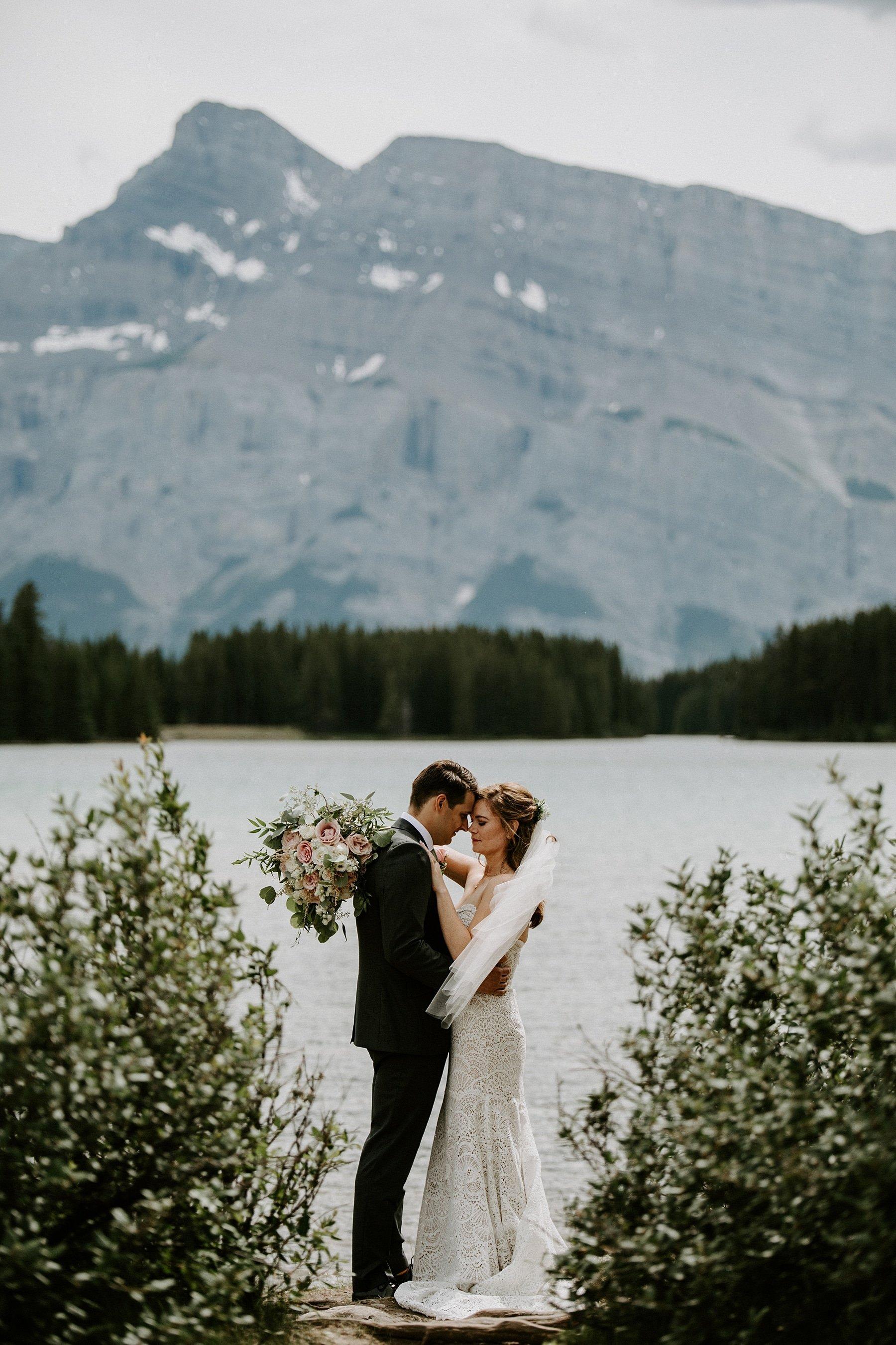 Two jack lake wedding in Banff