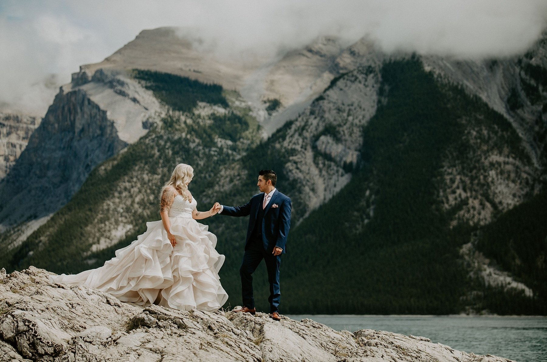 Lake Minnewanka wedding photos in Banff