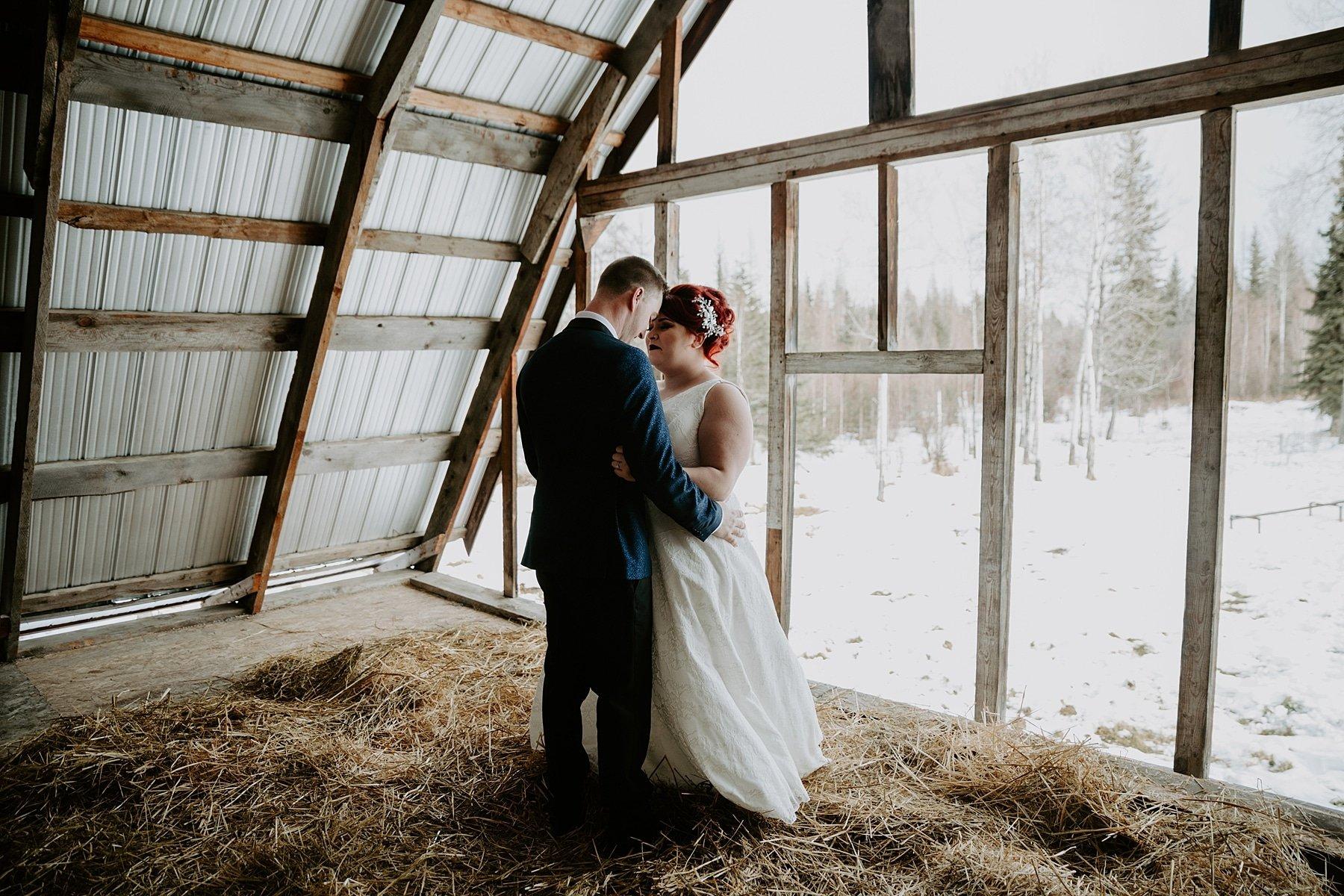 First look wedding in a barn