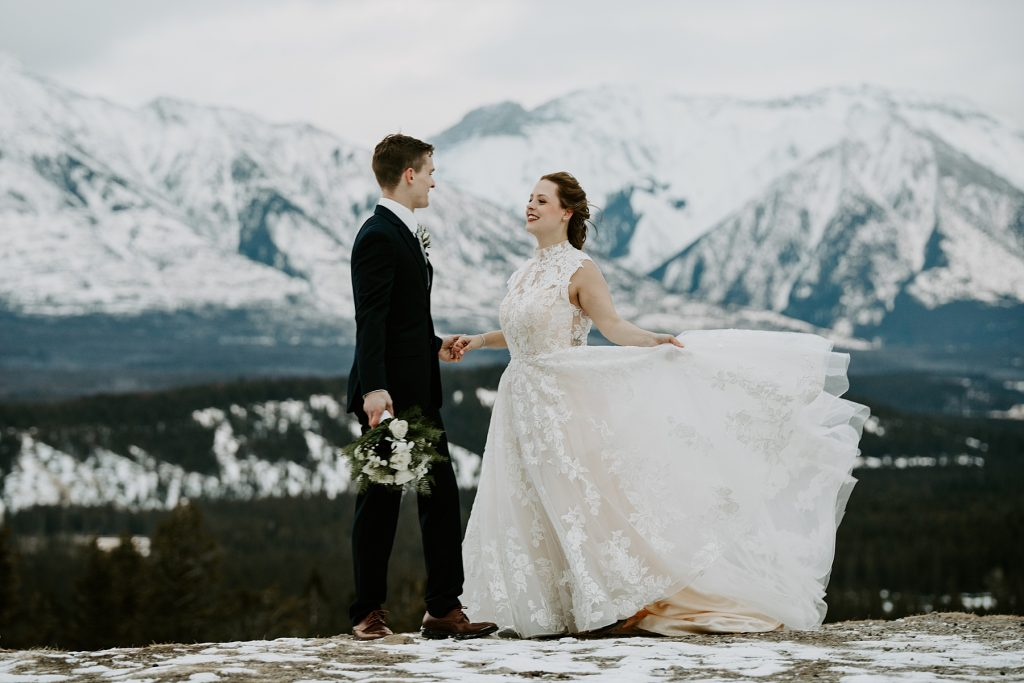 Tunnel Mountain Banff winter wedding photos