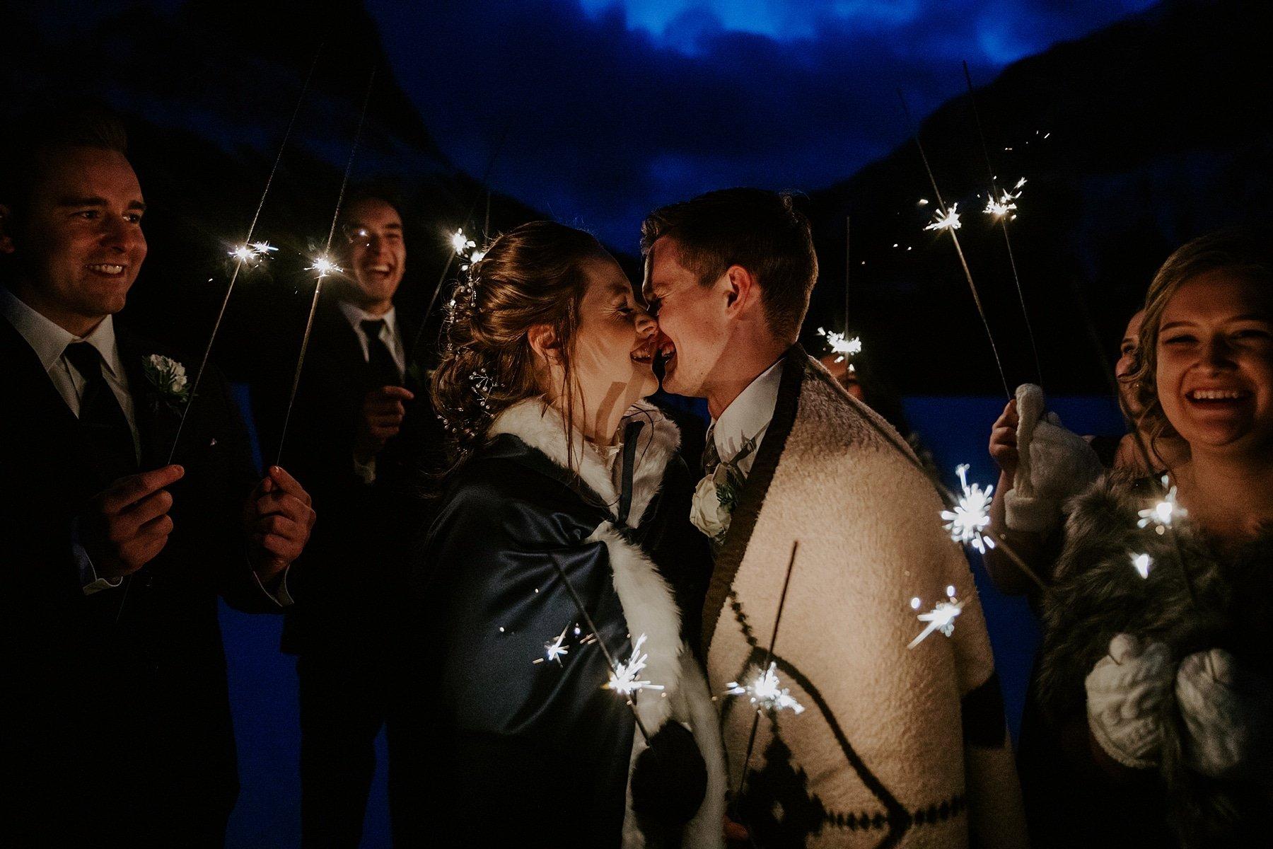 Sparkler wedding photos in Canmore