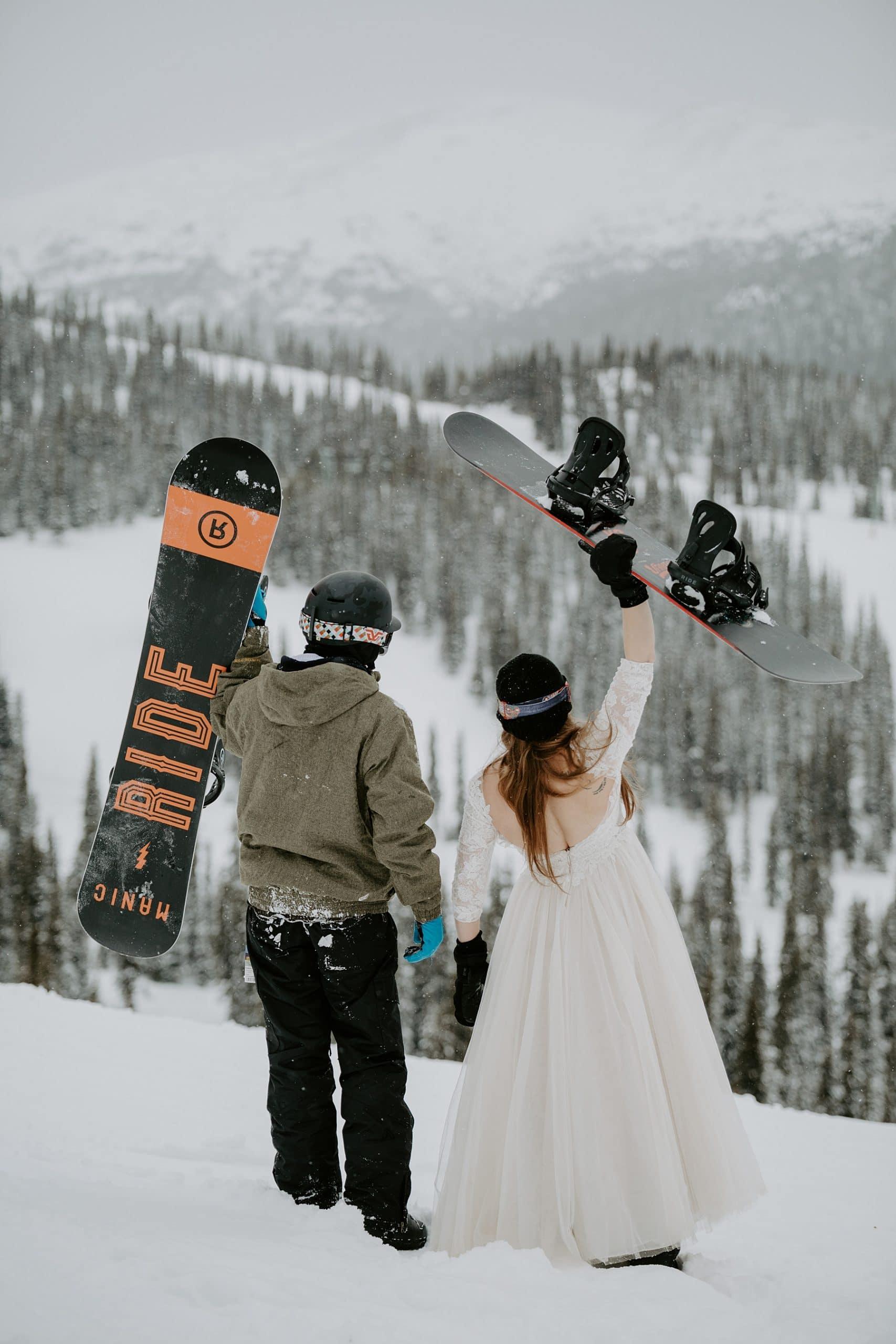 Snowboarding wedding at Marmot Basin in Jasper