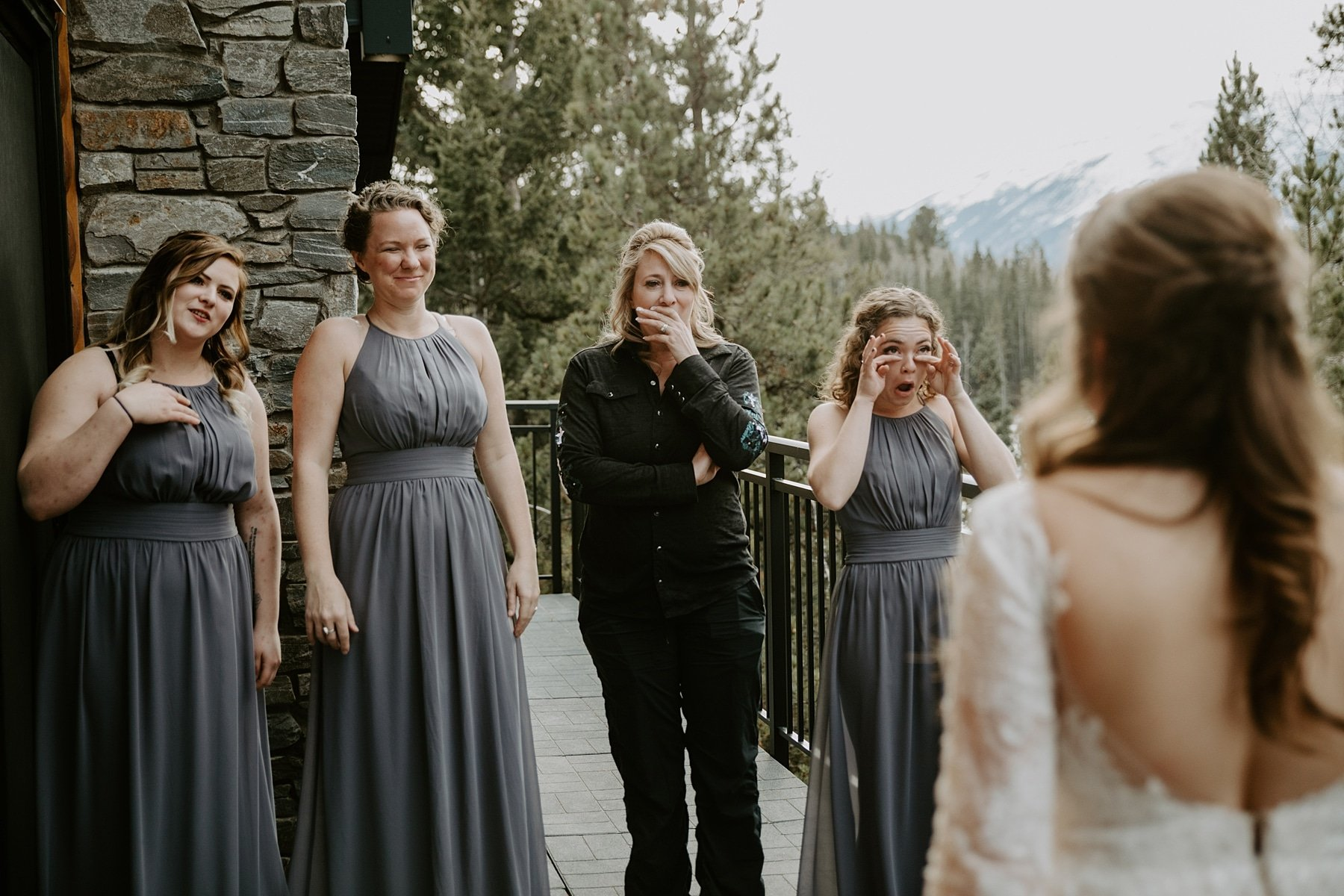 Pyramid Lake Resort Wedding first look with bridesmaids