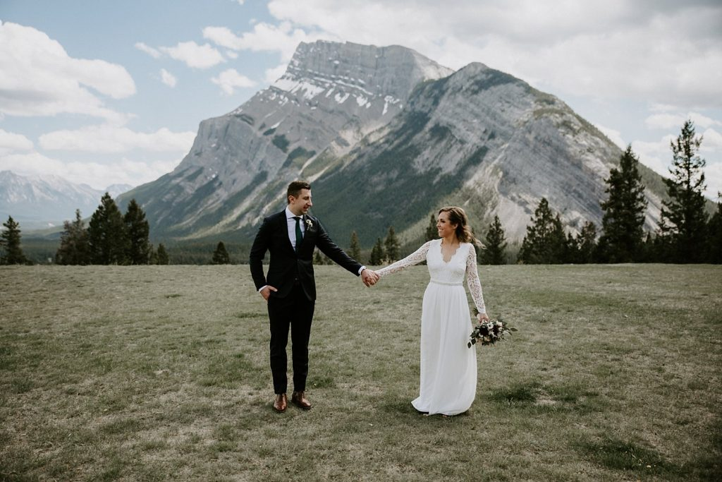 Affordable Wedding Dress Ideas | Banff Elopement at Tunnel Mountain Reservoir