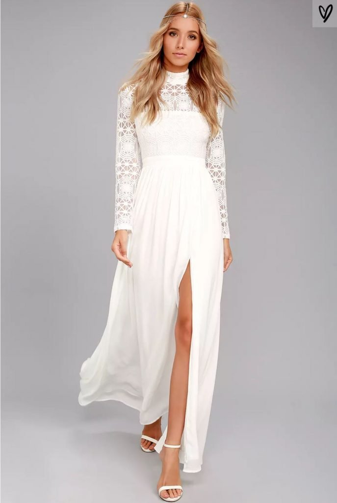 Lulus In Dreams White Long Sleeve Lace Maxi Dress | Affordable wedding dress ideas