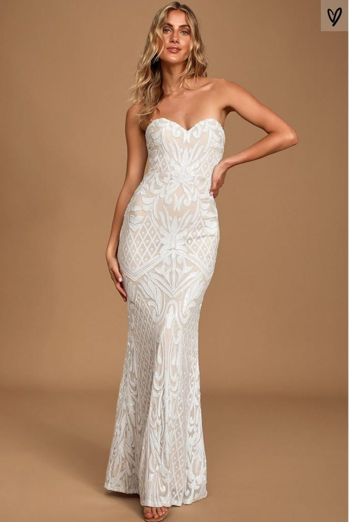 Lulus Olivia White Sequin Strapless Maxi Dress | Affordable Wedding Dress Ideas
