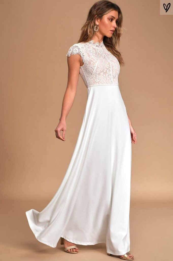 Lulus This Heart of Mine Ivory Lace Maxi Dress | Affordable Wedding Dress Ideas