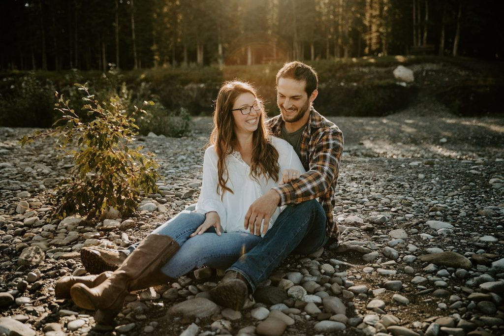 Riverside engagement photos in Bragg Creek