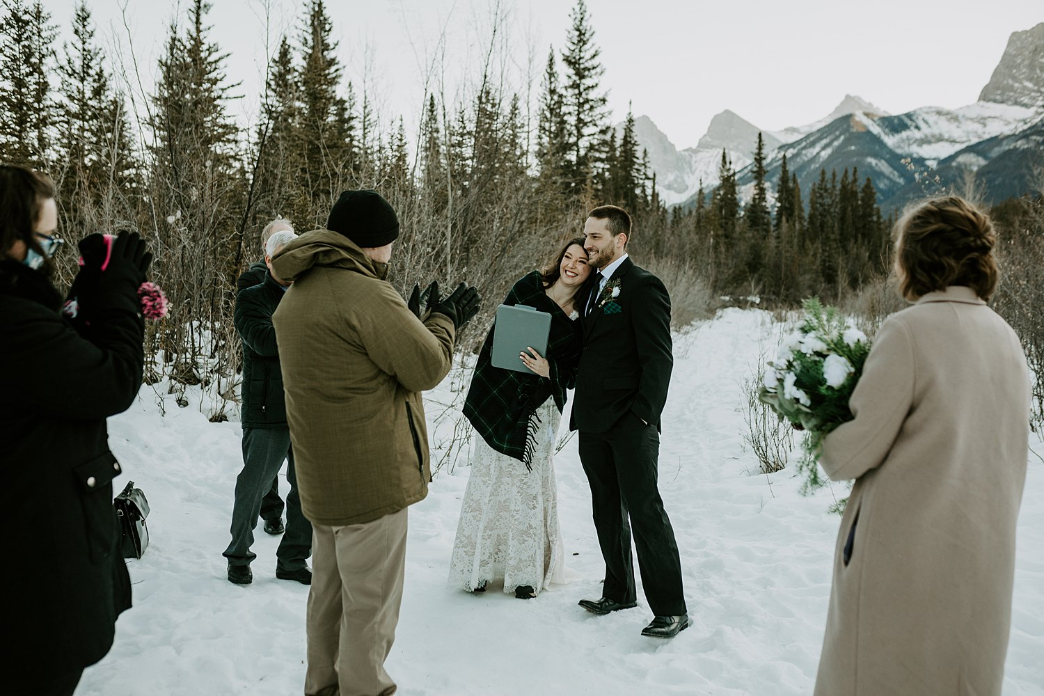 Intimate winter wedding in the mountains